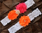 Wedding Garter, Bridal Garter Set - White Lace Garter, Keepsake Garter, Toss Garter, Orange Wedding Garter, Hot Pink Wedding Garter Belt