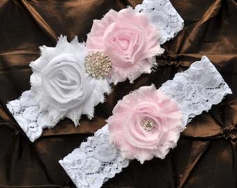 Wedding Garter, Bridal Garter Set - White Lace Garter, Keepsake Garter, Toss Garter, Light Pink Wedding Garter, Blush Wedding Garter Belt