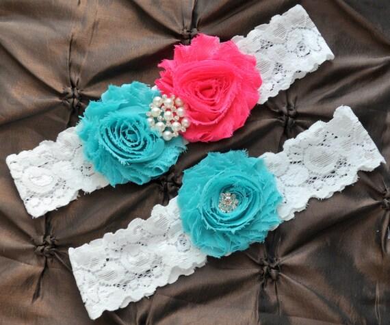 Wedding Garter, Bridal Garter - White Lace Garter, Keepsake Garter, Toss Garter, Shabby Hot Pink Aqua Wedding Garter, Pink Wedding Garter