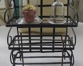 Vintage Mini Plant Stand, Glass Cloche, Plant & Garden Tools Terrarium Fairy Garden