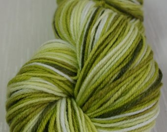 Hand Painted Yarn in White,Green 393 yrds, Knitting Supplies, Crochet Supplies