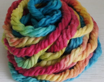 Hand Painted Super Bulky Yarn in Blue, Yellow and Pink Colors. Knitting Supplies, Crochet Supplies 15m.