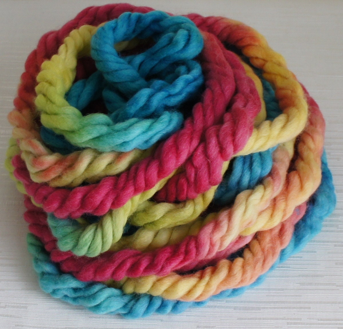 Super Bulky Yarn : Hand Painted Super Bulky Yarn in Blue by FashionTouchSupplies