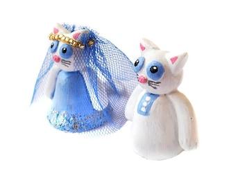 Wedding Cake Topper, Cat Cake Topper, Polymer Clay Cat Cake Topper, Kitty Cake Topper