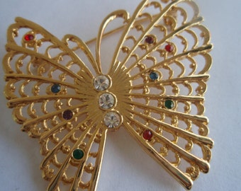 Vintage Gold Butterfly Brooch with rhinestones  Elegant Vintage collectible Jewelry