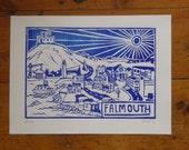 Falmouth Linocut. Blue