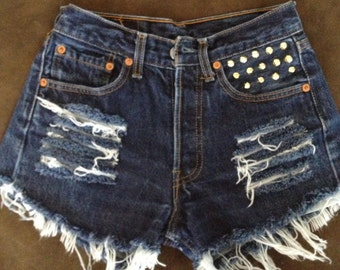 High waisted gold studded and destroyed  shorts