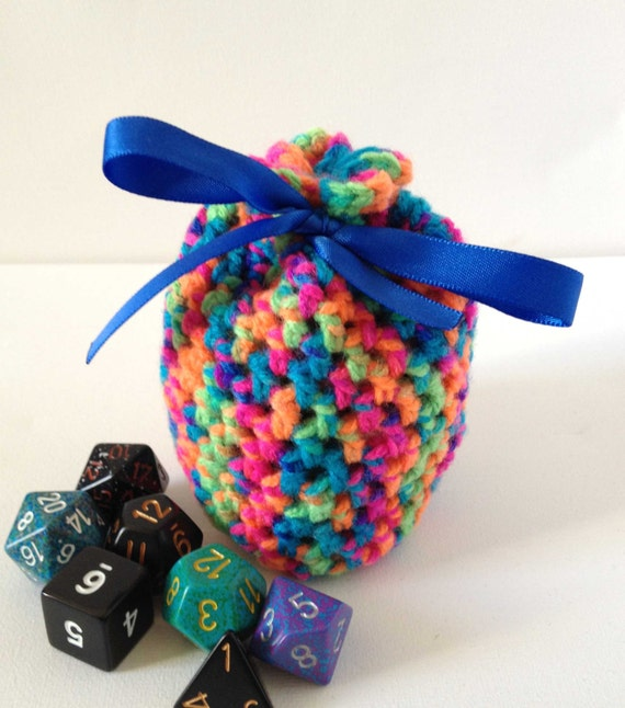 Crochet Rainbow Bag : Rainbow Dice Bag, Small Crochet Bag, Small Dice Bag, Rainbow Yarn ...