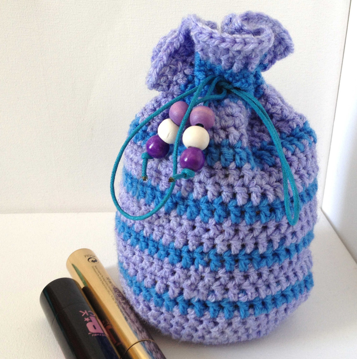 Crochet Childs Bag Pattern : Purple Cosmetic Bag Large Dice Bag Purple and Blue Crocheted