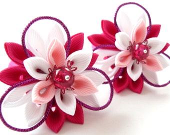 Kanzashi fabric flowers. Set of 2 ponytails . Pink and white.