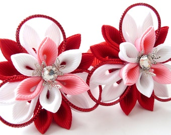 Kanzashi fabric flowers. Set of 2 ponytails . Red, pink and white.