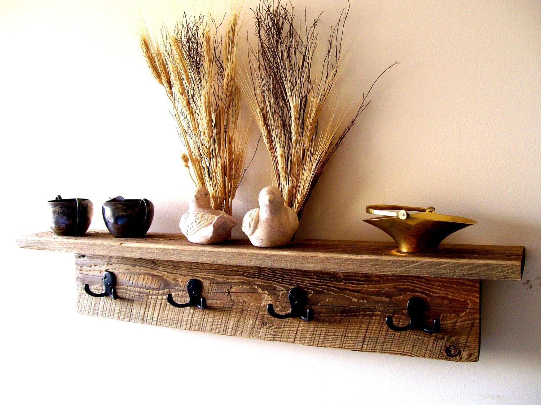 wall hung coat rack shelf hat rack key rack by thebarnyardshop. Black Bedroom Furniture Sets. Home Design Ideas
