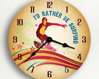 "I'd Rather Be Surfing Surfer 6""-10""-12"" Silent Wall Clock"