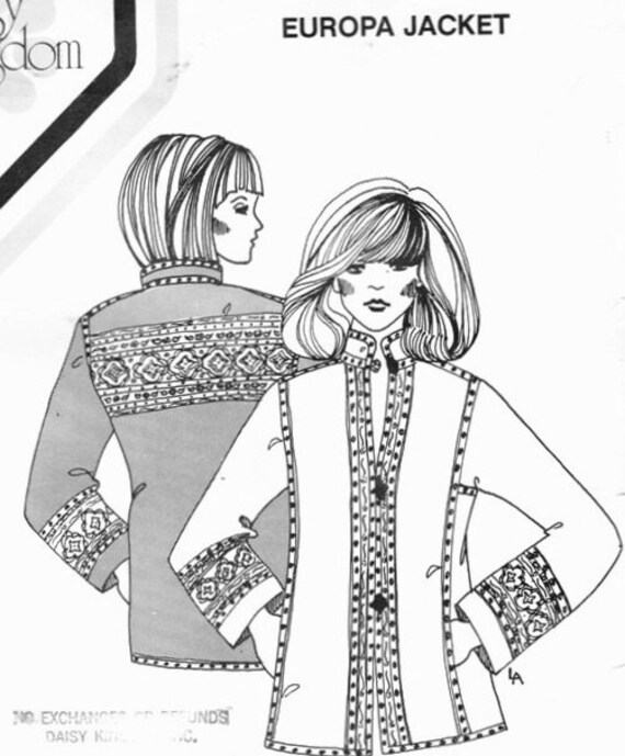 Vintage 1970s Bohemian Style UNCUT Daisy Kingdom Coat Sewing Pattern Quilted Europa Jacket Ladies All Sizes Bust 29.5-44
