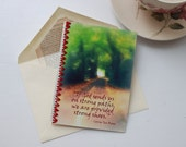 Corrie Ten Boom quote on a vintage-inspired, encouraging, handmade greeting card