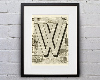 The Letter W Vintage French Alphabet - Shabby Chic Dictionary Page Book Art Print - DPFA023