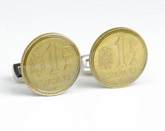 Cufflinks Spanish Peseta Old Coin-gemelos peseta