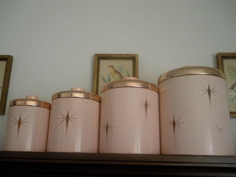 Fleur De Lis Kitchen Canisters Vintage Atomic Starburst 1950 S Rare Ransburg By