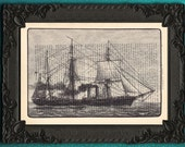 Pirate Ship print pirate ship drawing black and white on dictionary paper