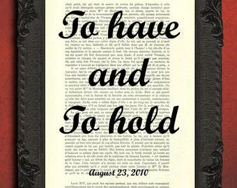 to have and to hold print custom wedding print custom love print