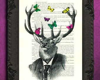 Deer tuxedo with yellow pink green butterflies illustration deer head wall art