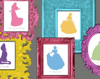 Disney Princess Silhouette Wall Art 12 8x10 prints with Song Titles - Digital File Download or Printed
