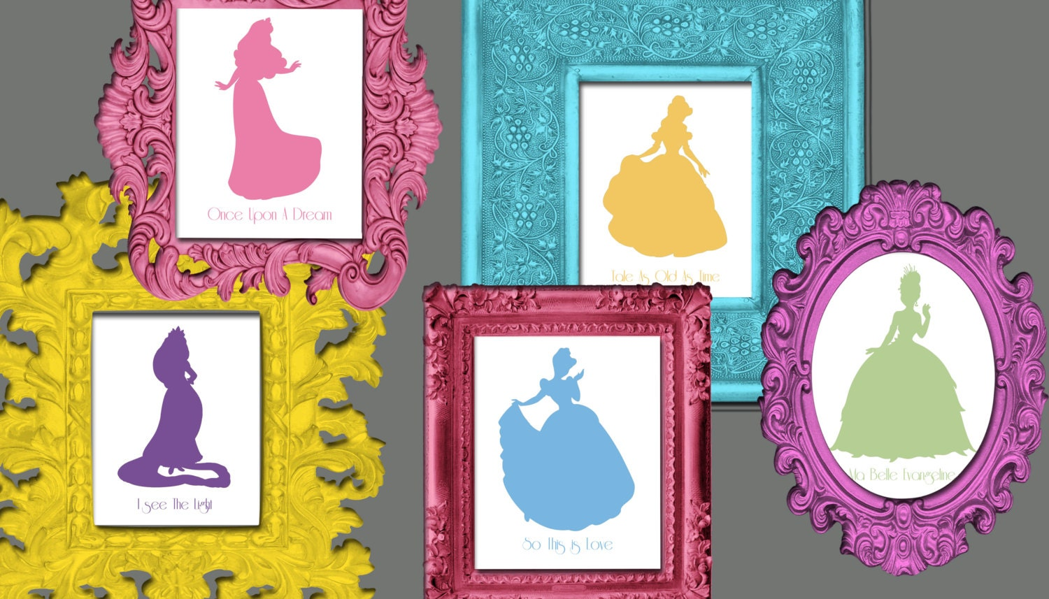 Disney princess silhouette wall art 12 8x10 prints with song zoom amipublicfo Image collections