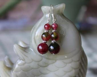Nice Red Green Jade Earrings, sterling silver hook