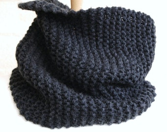 Chunky Knit Charcoal gray snood, men scarf, winter cowl,