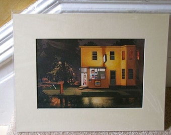 "Store in Evening Mist, 6.75"" x 10"" in a cream colored mat with backing and plastic sleeve."