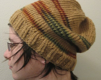 Fall Striped Tan Beanie