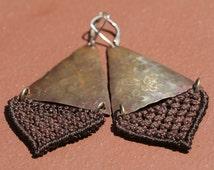 Earth-Brown Fiber and Copper Macrame Earrings