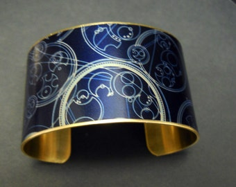 Dr Who Steampunk Doctor Who Gallifrey Symbols 1 1/2 Inch Brass Cuff Bracelet