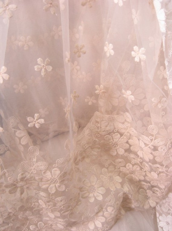 Ivory Organza Lace Fabric Vintage Bridal Lace Fabric