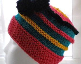 Knit HAT PATTERN with pom poms- Scrap Yarn