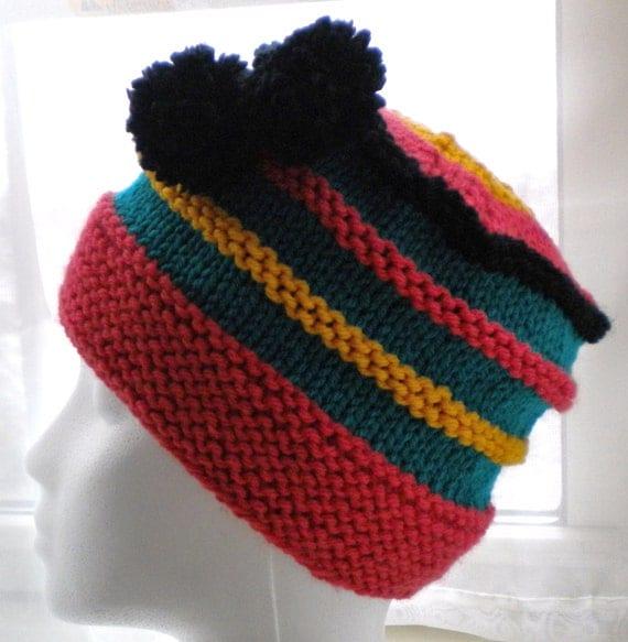 Knit HAT PATTERN with pom poms Scrap Yarn