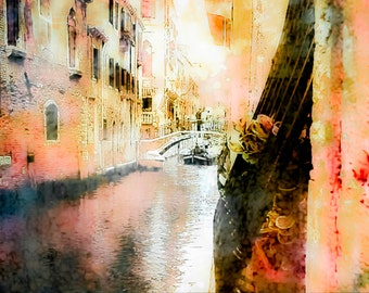 """Italy Photography, 8x10 print, Venice Photography, Whimsical, Vintage, Distressed, Canal, Pink, """"Secrets of Venice"""""""