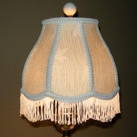 vintage brocade fringed off white lamp shade. Black Bedroom Furniture Sets. Home Design Ideas