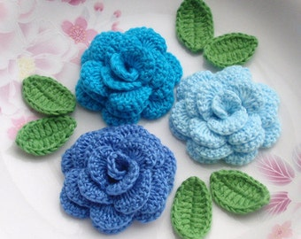 3 Crochet  Flowers (Roses) With Leaves YH - 142-03