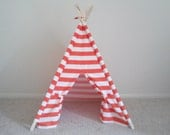 Play Teepee Orange and White Stripe Indoor Outdoor play tent theteepeeguy