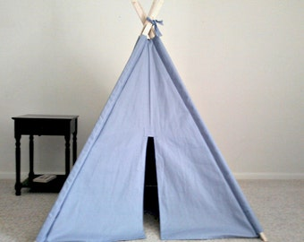 Handmade Teepee Blue Canvas Tent Many Colors Made to Order