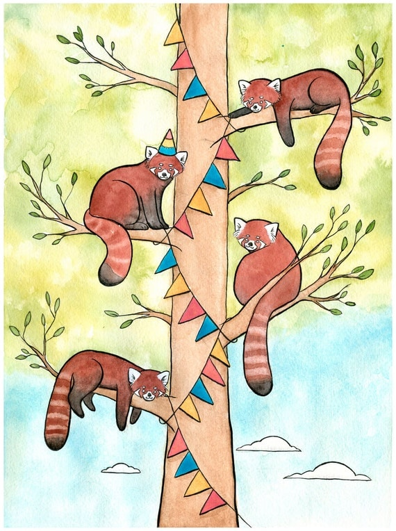 Pandas Hanging Banner for a Party - Red Panda Art - Red Panda Party ...