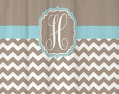 Shower Curtain Chevron YOU CHOOSE COLORS 70, 74, 78, 84, 88, or 96 inch Extra Long Custom Monogram Personalized Shown in Taupe & Aqua Blue