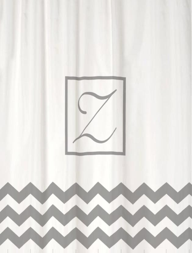 Classic Monogram Shower Curtain Heavy Fabric You Choose Colors