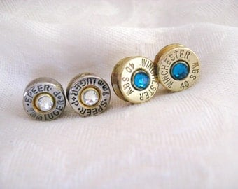 Ammo Bullet Earrings - Bullet Casing with Swarovski Crystals - 9mm, 45 caliber, 40 caliber, 30-30, 38, or any other caliber
