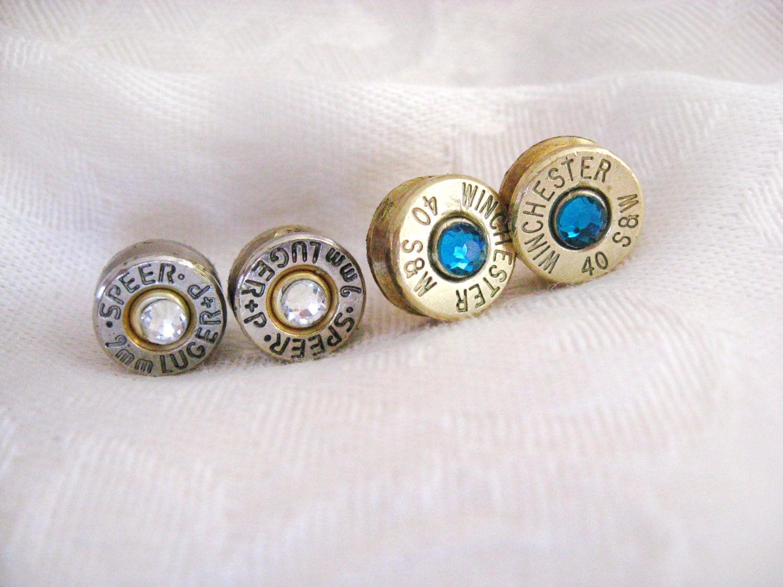 ammo bullet earrings bullet casing with swarovski crystals