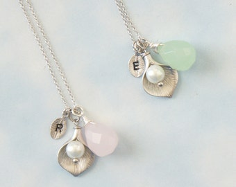 Calla Lily Flower Necklace. Pink Opal & Green Opal Chalcedony Necklace. Initial Necklace. Bridesmaid Gift.