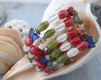 Red, White, Blue, Green beaded bracelet