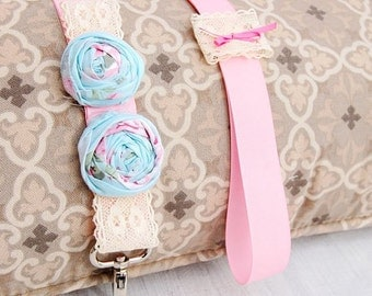 Handmade Light blue flower with pink double ribbon leash for your lovely dog,pets leash