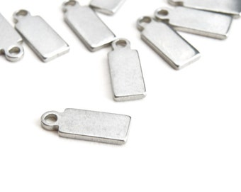 Silver Rectangle Stamping Blanks Tiny Rectangle Charms - 10 pieces, 11 mm x 4 mm